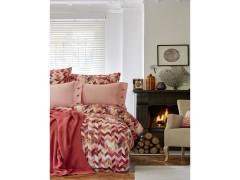 KARACA HOME Набор: постельное белье евро + ПЛЕД 220x240 см.MELANGE ОРАНЖЕВЫЙ