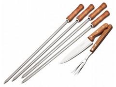 Кух.прибор TRAMONTINA Barbecue 6пр (шампур-4шт,нож 178мм,вилкад/мяса) инд.бл (26499/027)