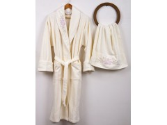 BEGONVILLE Набор: халат + полотенце 50x100 см.BOUQET CREAM