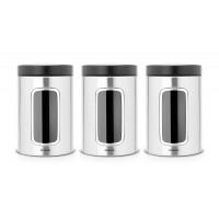 Набор контейнеров для хранения сыпучих продуктов с окном 3 предмета, 1,4л