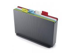 Набор 4-х разноцветных разделочных досок с ярлычками и кейсом для хранения